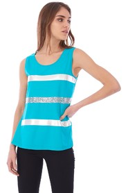 RIBBED TANK WITH SEQUINS