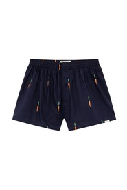 Navy boxer shorts with carrot patterns in organic cotton