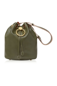 Earring Leather Drawstring Bucket bag