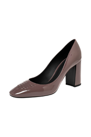 Pre-owned Patent Leather Intrecciato Detail Block Heel Pumps