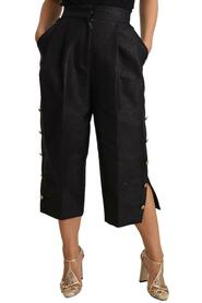 Side Buttons Cropped Pants