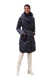 Long Regular Down Jacket With Fur Collar