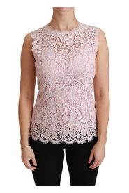 Pink Lace Sleeveless Cotton Top