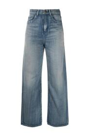 Classic dirty effect high waist jeans