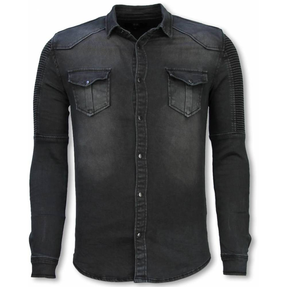 Biker Denim Shirt - Slim Fit Ribbel Stonewashed