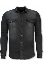 Biker Denim Shirt - Slim Fit Ribbed Stonewashed