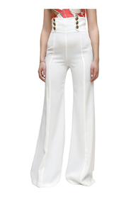 High-waisted crepe trousers