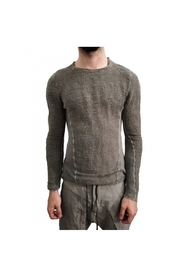 Granite woven and knitted treated silk cotton linen sweater