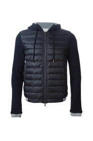 Bi-material quilted jacket