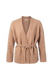 Knitted rib cardigan with strap at waist
