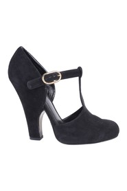 Mary Jane Suede Ankle Strap Heels