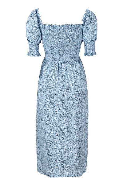 Mets Cashmere Blue Print Midi Smock Dress Soft Rebels Hverdagskjoler