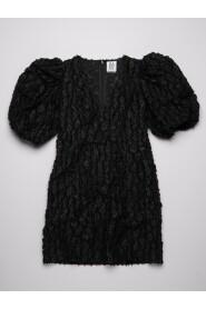 Robyn Puff Sleeve Black Leopard Mini Dress