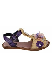 Leather crystal flats women's sandals