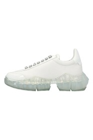 sneakers in smooth and patent leather with diamond rubber sole