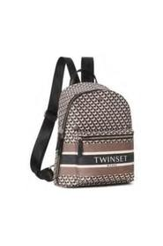 Backpack with zip in faux leather all over print