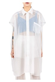Sheer Sleeveless Long Shirt