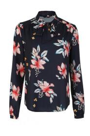 bluzka z fontaziem i długim rękawem w kwiaty