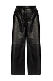 Wide-legged leather trousers
