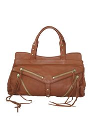 Leather Handbag with Zippers