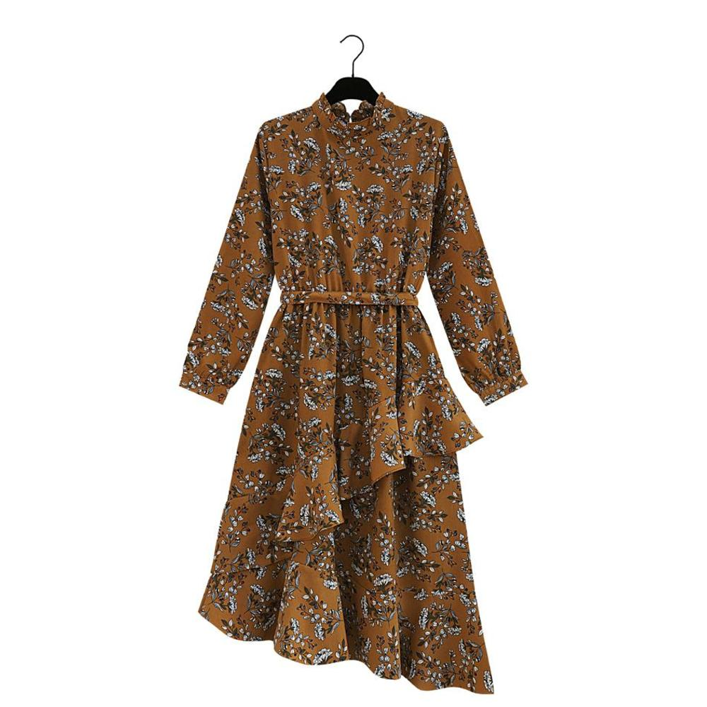 ROSALINDA Caramel Colour Flower Print Ruffle Dress