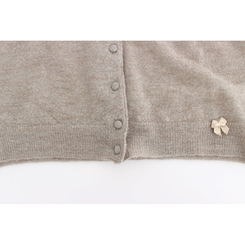 Ermanno Scervino Beige Cropped Cardigan Sweater Ermanno Scervino