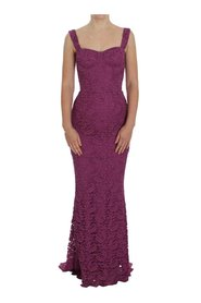 Floral Lace Ricamo Maxi klänning