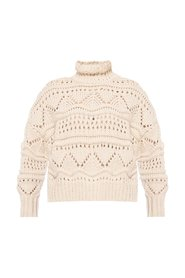 Knitted sweater with high neck