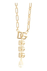 DG LOGO PENDANT AND PEARL NECKLACE