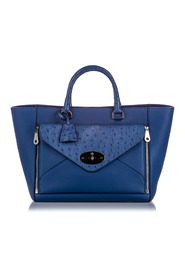 Ostrich-Trimmed Willow Tote Bag Leather Calf