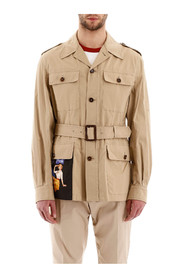 Safari jacket with patch