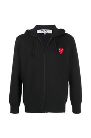 Zipped Embroidered-Logo Hoodie