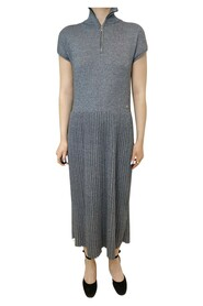 pre-owned pleated zip dress