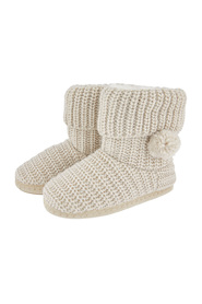 Cream Lurex Chunky Knitted Accz Lifestyle Slippers Boots