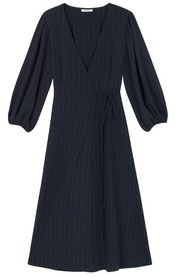 Ganni Clark Heavy Crepe Wrap Dress Navy