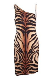 Animal Print One Shoulder Dress