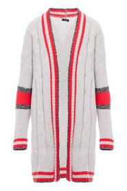 Long cardigan with contrasting stripes