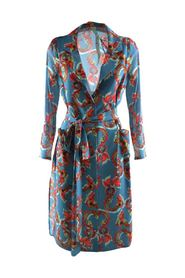 Il Tea delle 5 short woman dress with blue dragons pattern