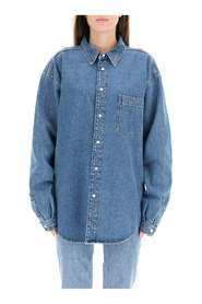denim shirt with logo on back
