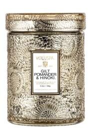 Small Glass Jar Candle Gilt Pomander & Hinoki