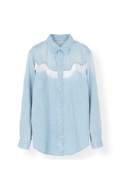 soft denim fringe shirt