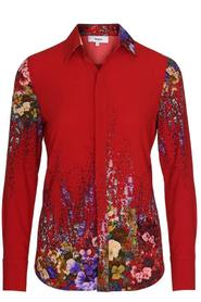 MIRA Flower Print Silk Shirt