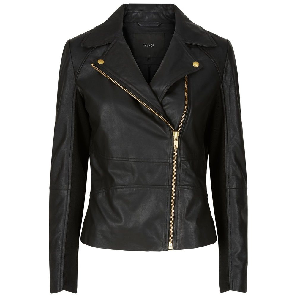 Leather jacket gold zipper