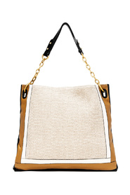 Flat bag in two-tone leather and Giuditta model rope