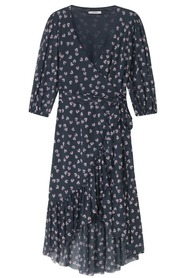 Ganni Tilden Mesh Wrap Dress navy