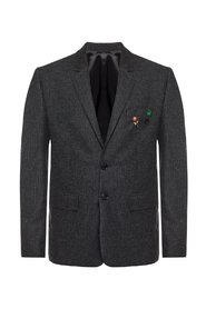 Blazer with decorative brooches