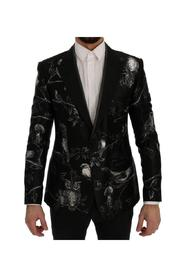 Bird Print Silk Slim Blazer