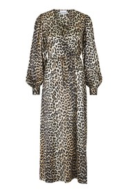 Cross leopard print dress