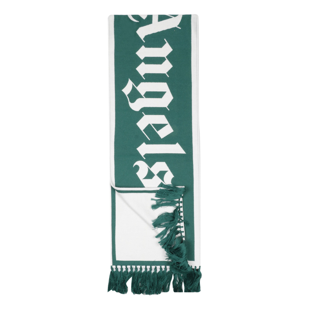 5501 Green LOGO KNITTED SCARF | Palm Angels | Sjaals | Heren accessoires