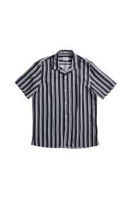 Errico lyocell and linen striped short sleeves shirt